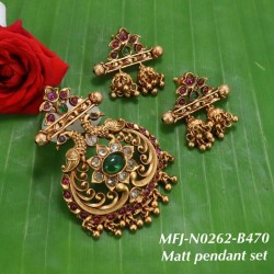 CZ, Ruby & Emerald Stones Leaves Design With Pearls Gold Plated Finish 3 Lines Mattel Set Buy Online