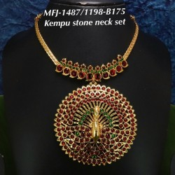 Single Line Pearl Beads Temple Head Set - Kempu Stones Head Set - Dance Jewellery Online