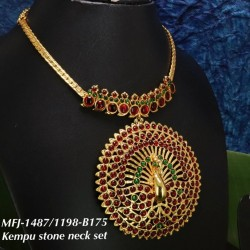 Green & Kempu stone Designar Necklace  -Temple Necklace-Dance Jewellery Online