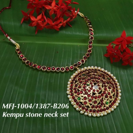 Kempu & Multicolour Stones With Pearls Moon Shaped Earrings For Bharatanatyam Dance And Temple Buy Online