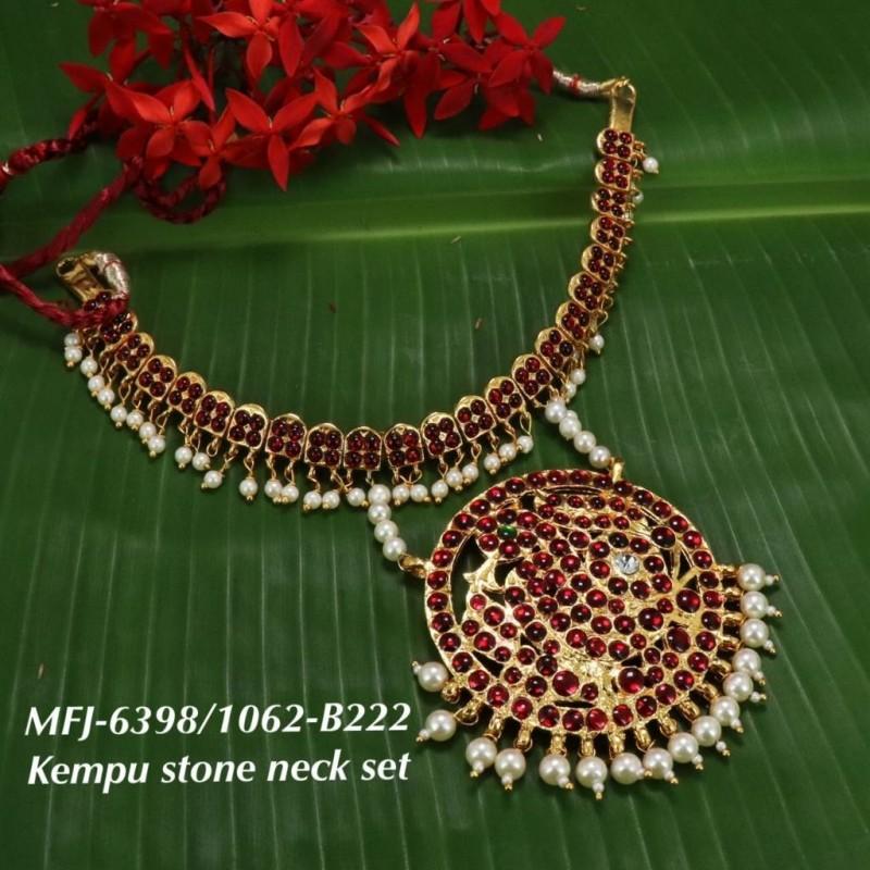 Single Line Pearl Beads Temple Head Set - Kempu Stones Head Set - Dance Jewellery Online