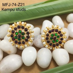 Kempu stones With Red & Golden Colour Beads Designer Necklace For Temple And Bharatanatyam Dance Buy Online