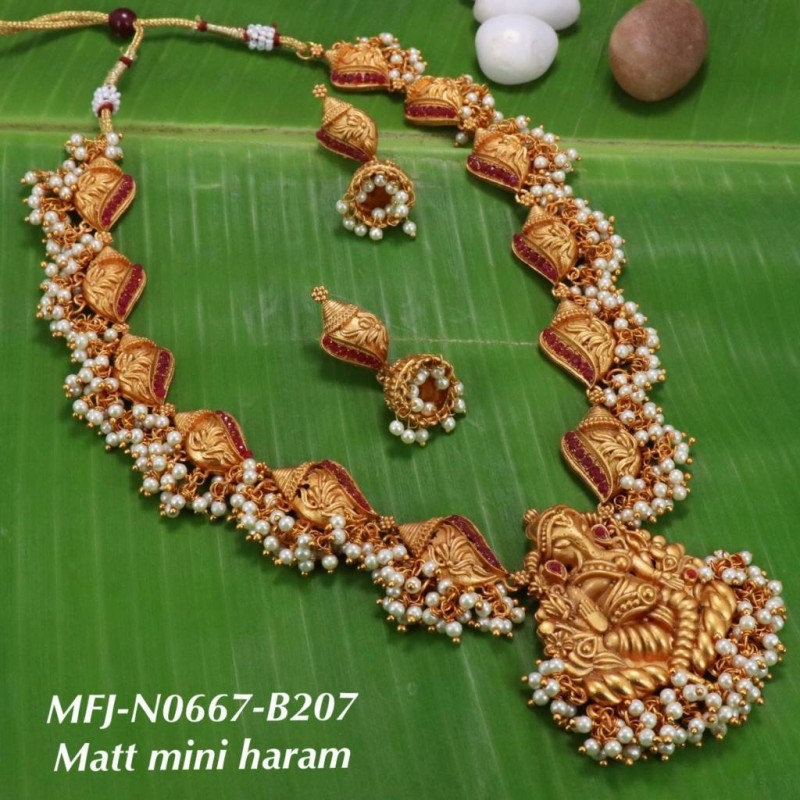 Kempu Stones Flowers & Peacock Design Pendant With Golden Balls Chain Necklace For Temple And Bharatanatyam Dance Buy Online