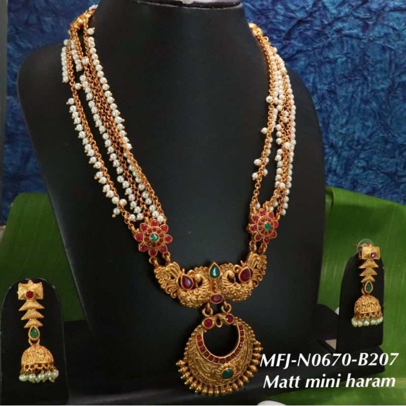 Blue Beads With High Quality Kempu Stones Flowers Design Pendant Necklace For Temple And Bharatanatyam Dance Buy Online