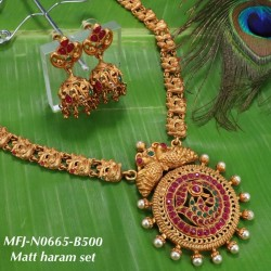 CZ, Ruby & Emerald Stones Flowers Design Gold Plated Finish Combo Bridal Set Buy Online