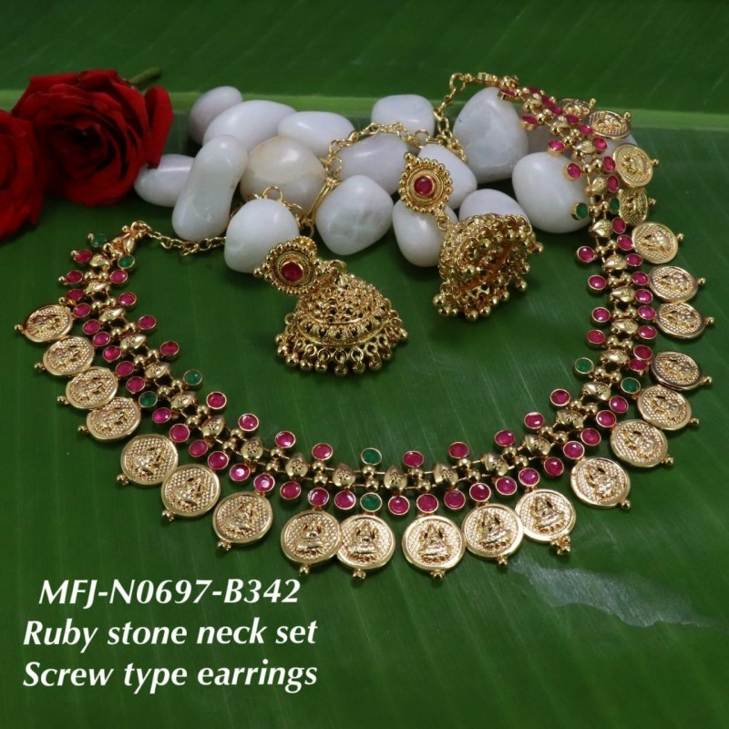 CZ,Ruby&Emerald Stones With Perls Peacock With Flowers Design Gold Plated Full Bridal Set  Buy Online