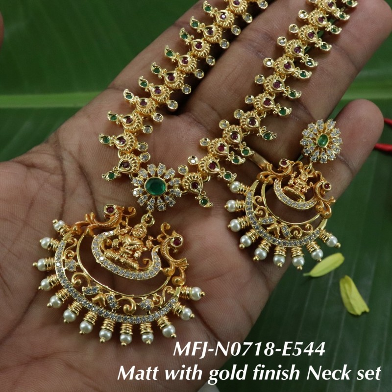 Ruby&Emerald Flowers Design Gold Plated Finish Haram Set Buy Online