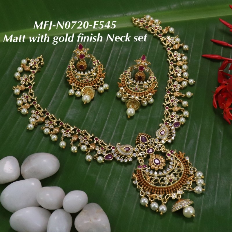 Ruby & Emerald Flowers Design Gold Plated Finish Haram Set Buy Online