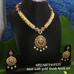 Ruby Stoned Four Lined Peacock With Lakshmi Design Matte Plated Finish Haram Set Buy Online