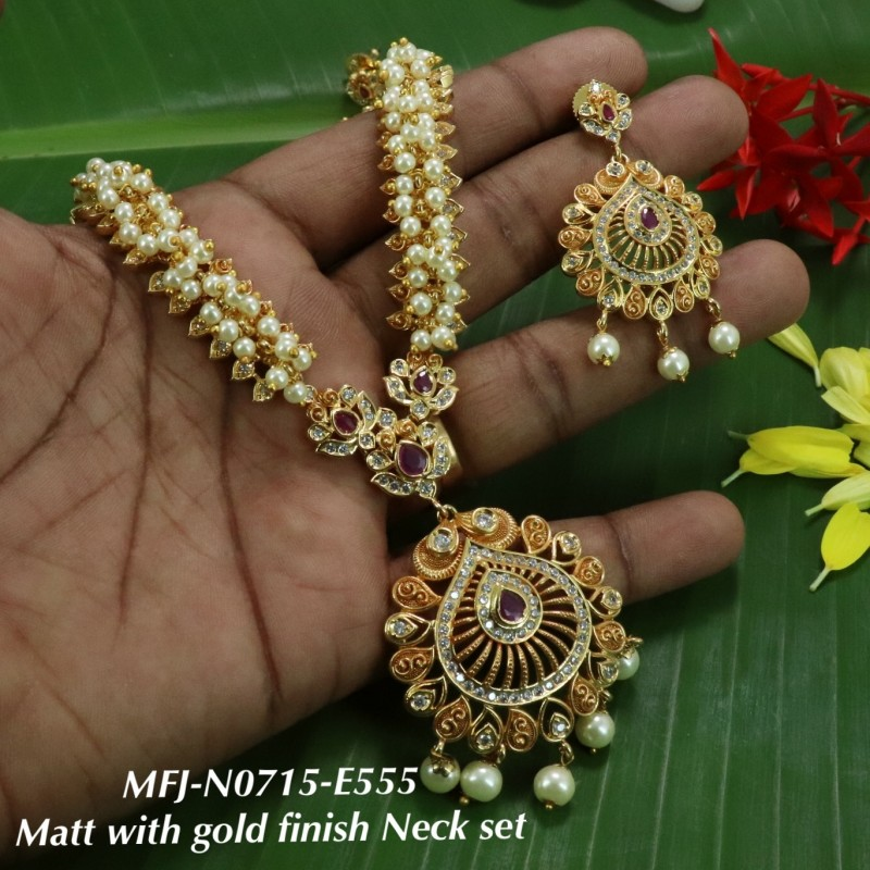High Quality Kempu & CZ  Stones With Pearls Hanging Full Head Set For Bharatanatyam Dance And Temple Buy Online