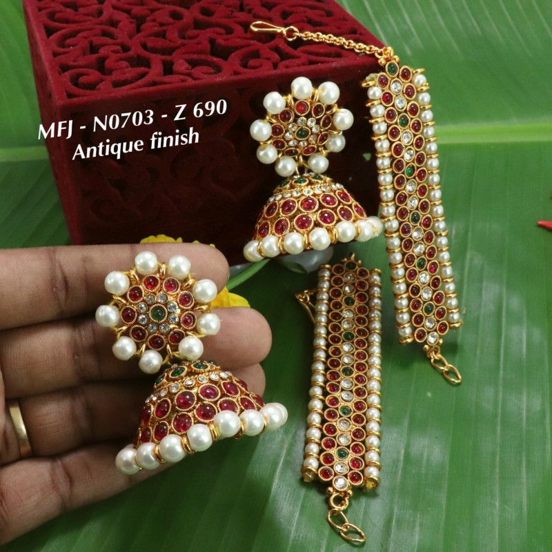 CZ,Ruby&Emerald Stones Gutta Pusala Design With Pearls Drops Mat Finish Necklace Set Buy Online