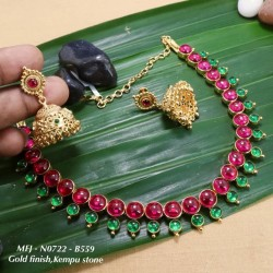 Ruby& Emerald Stoned Peacock Design Matte Plated Finish Haram Set Buy Online