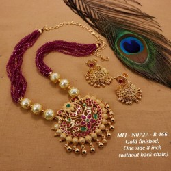 Ruby & Emerald Stoned Three Lined Peacock With Lakshmi Design Matte Plated Finished Haram Set Buy Online