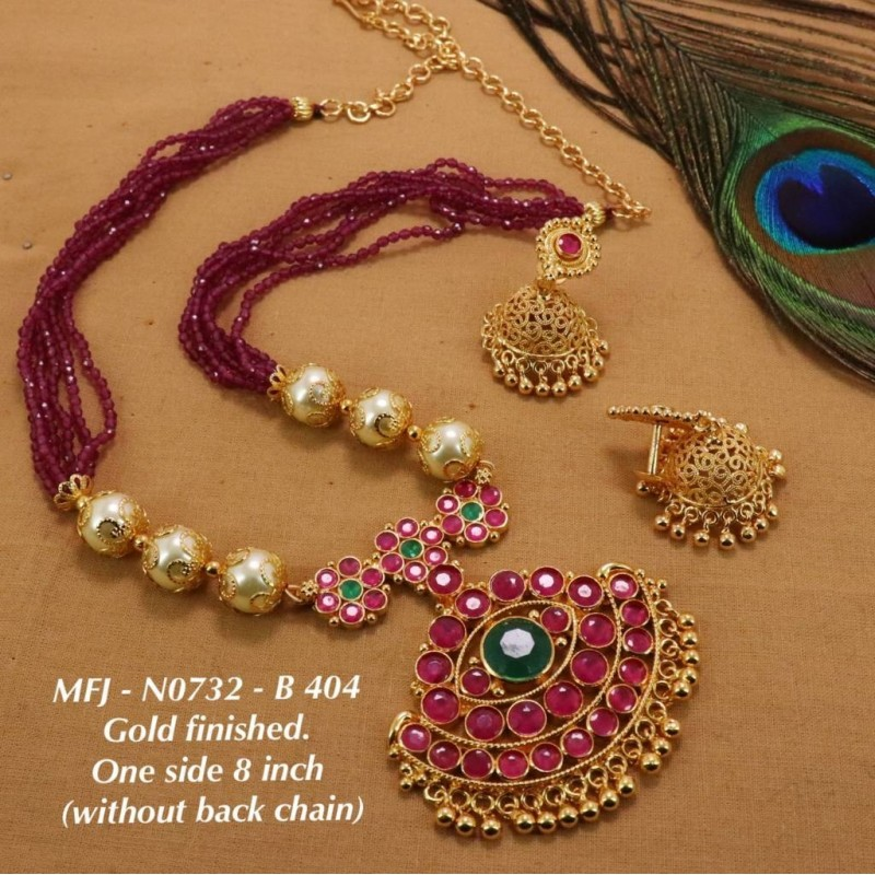 CZ&Ruby Stones With Perls Peacock Design Gold Plated Finish Necklace Buy Online