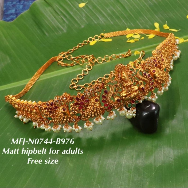 CZ,Ruby&Emerald Stones With Perls Peacock Design Gold Plated Finish Necklace Buy Online