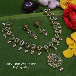 CZ,Ruby & Emerald Stones With Pearls Squre Design Guttapusala Gold Plated Finish Necklace Buy Online