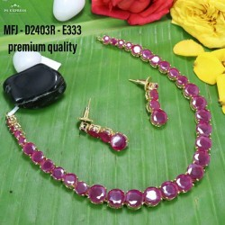 CZ&Ruby Stoned Peacock With Lakshmi Design Matte Plated Finished Haram Set Buy Online