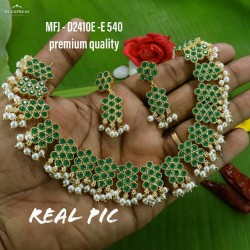Ruby&Emerald Stoned Peacock With Kasu Design Matte Plated Finished Haram Set Buy Online