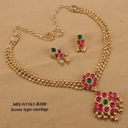 Ruby & Emerald Stones Lakshmi Design With Red & Green Beads Mat Finish Pendant Set Buy Online