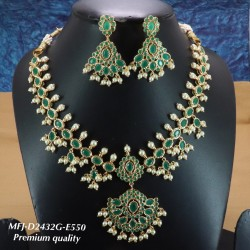CZ,Ruby & Emerald Stones With Perls Flower Design Gold Plated Finished Choker Necklace Buy Online