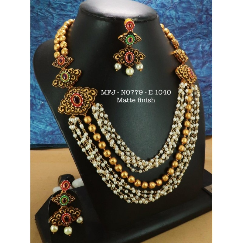 CZ,Ruby Stones  Leafs And Flower Design With Pearls Drops Gold Plated Headset Buy Online