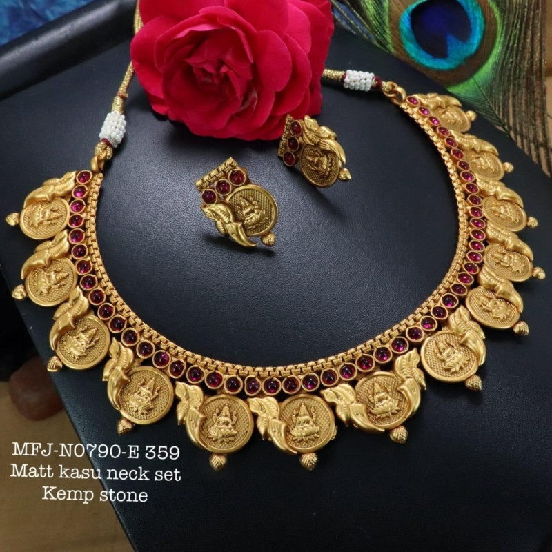 CZ&Ruby Precious Stones Flower Design Gold Plated Finish Necklace Buy Online