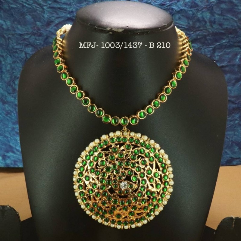 Emerald Precious Stones With Pearls Thilakam Design Gold Plated Finish Necklace Buy Online