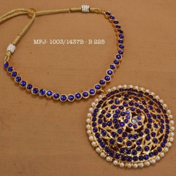 Ruby&Emerald Precious Stones With Pearls Thilakam Design Gold Plated Finish Necklace Buy Online