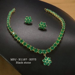 Ruby&Emerald Precious Stones With Pearls Gold Plated Finish Necklace Buy Online