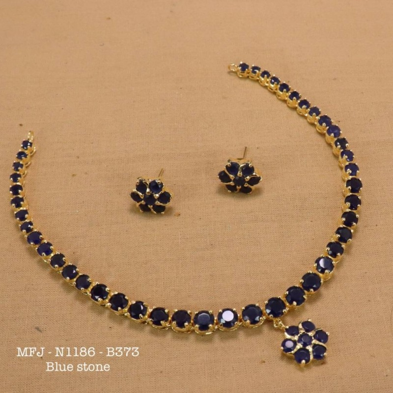 BluePrecious Stones With Real Water Pearls Gold Plated Finish Necklace Buy Online
