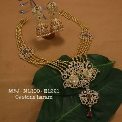 CZ&Ruby Stoned Peacock With Flower Design Matte Gutta Pusala Plated Finished Neck Set Buy Online