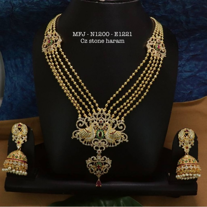 Ruby& Emerald Stoned With Three Lined Pearls Drops Flower Design Matte Plated Finished Neck Set Buy Online
