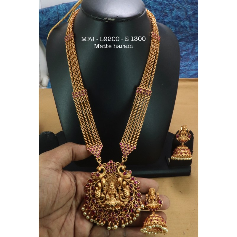 Ruby& Emerald Stoned With Pearls Drops Kasu Design Matte Plated Finished Neck Set Buy Online