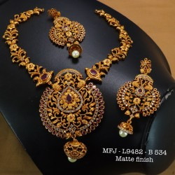 Ruby&Emerald Stoned Four Lined Lakshmi With Peacock Design Matte Plated Finished Haram Set Buy Online