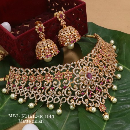 Ruby&Emerald Stoned With Pearl Drop Lakshmi Kasu Combo Design Matte Plated Finished Haram Set Buy Online