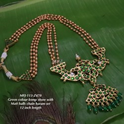 Kempu Ruby&Emerald Stones With Pearls Flowers Design Pendant For Bharatanatyam Dance And Temple Buy Online
