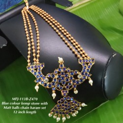 Kempu Blue&Green Stones With Pearls Flowers Design Pendant For Bharatanatyam Dance And Temple Buy Online