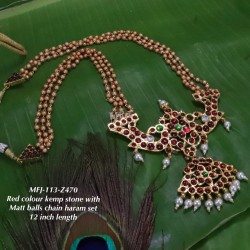 Emerald Kempu Stones With Pearls Design Pendant For Bharatanatyam Dance And Temple Buy Online