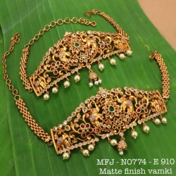 Ruby&Emerald Stones With Pearls Drops Peacock With Lakshmi Design Mat Finish Pendant Set Buy Online