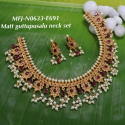 Ruby Stoned With Pearl Drop Lakshmi Kasu Combo Design Matte Plated Finished Haram Set Buy Online