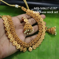 Ruby&Emerald Stoned With Golden Balls Lakshmi&Flower Kasu Design Matte Plated Finished Haram Set Buy Online