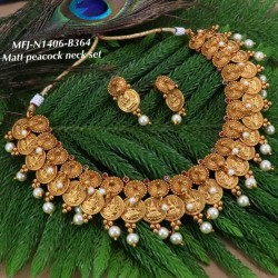 Ruby Stoned With Golden Balls Lakshmi&Peacock Three Lined Design Matte Plated Finished Haram Set Buy Online