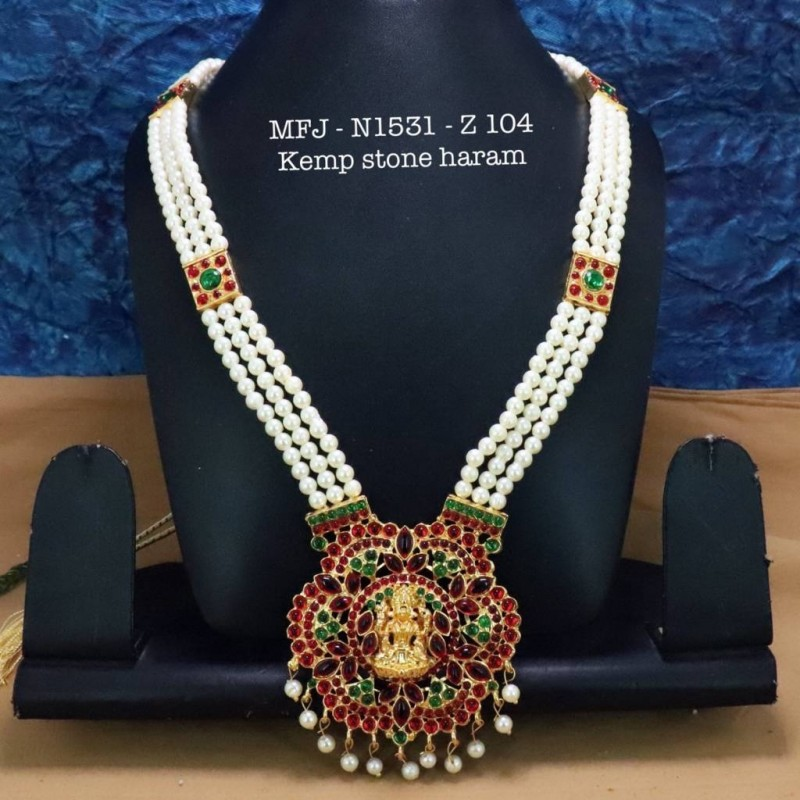 Kempu Blue & Green Colour Stones With Pearl Drops Mango Design Necklace For Bharatanatyam Dance And Temple Buy Online
