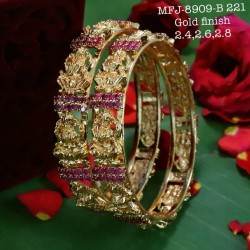 Green & Red Colour Kempu Stones Heart Designed Golden Colour Polished Jewellery Making Bit Online