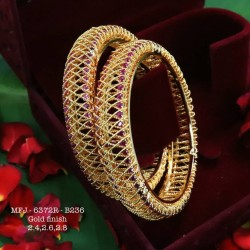 Red Colour Kempu Stones Designed Golden Colour Polished Jewellery Making Bit(1pc Price) Online