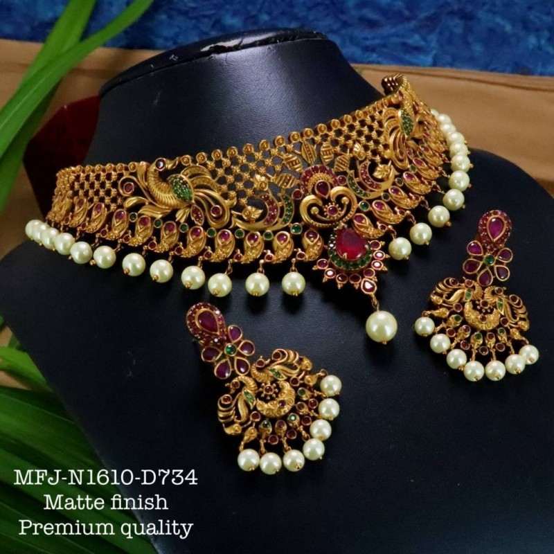 Ruby,Emerald Stones With Pearls Drops Peacock Design Antic Plated Finished Full Bridal Set  Buy Online