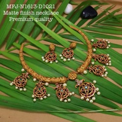 Ruby,Emerald Stones With Pearls Drops Mango&Flower Design Antic Plated Finished Full Bridal Set Buy Online