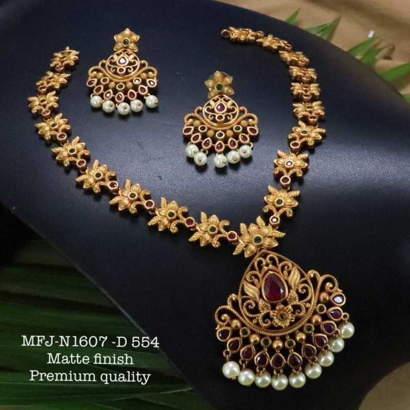 Kempu Ruby Stones With Pearls Drops Flowers Design Pendant For Bharatanatyam Dance And Temple Buy Online