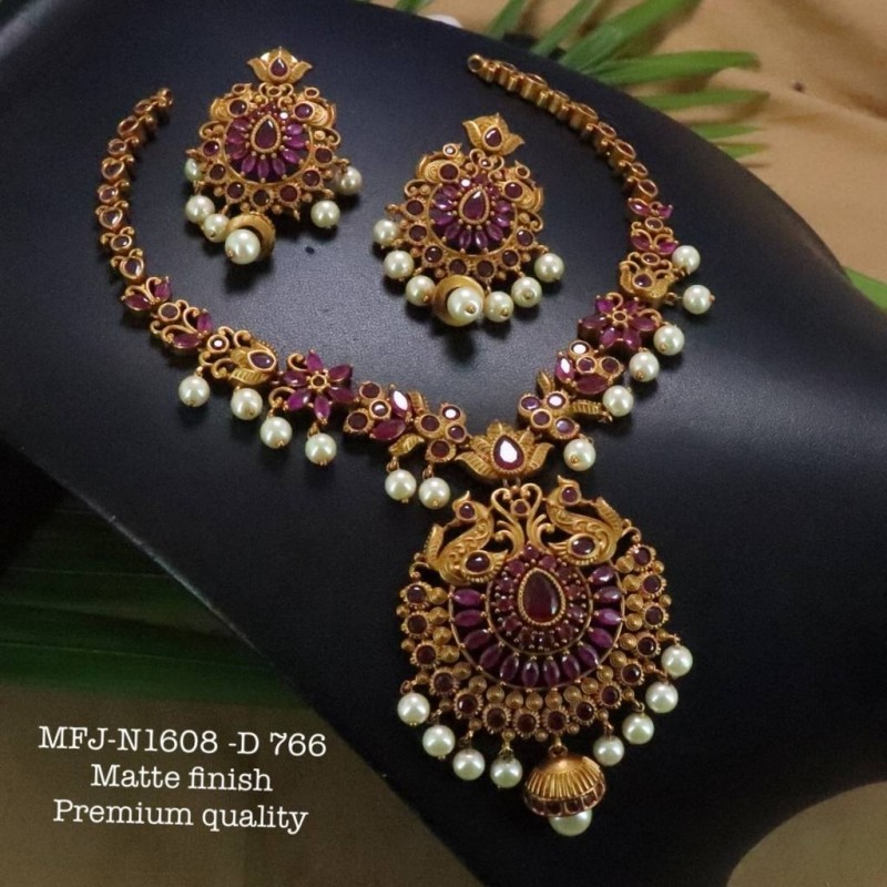 Kempu Blue Stones With Pearls Drops Flowers Design Pendant For Bharatanatyam Dance And Temple Buy Online