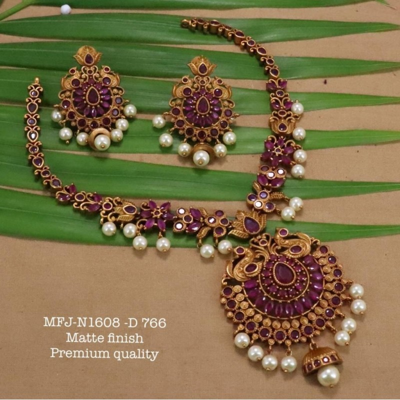 Kempu Green Stones With Pearls Drops Flowers Design Pendant For Bharatanatyam Dance And Temple Buy Online